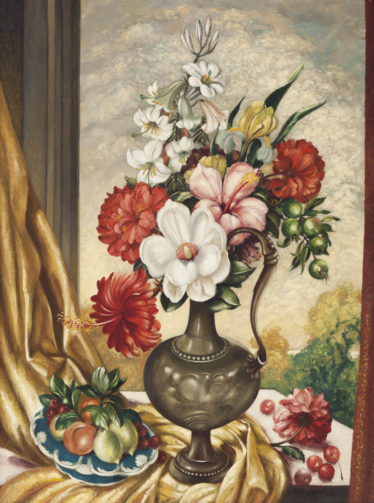 Still Life With Ewer Mixed Flowers And Cherries