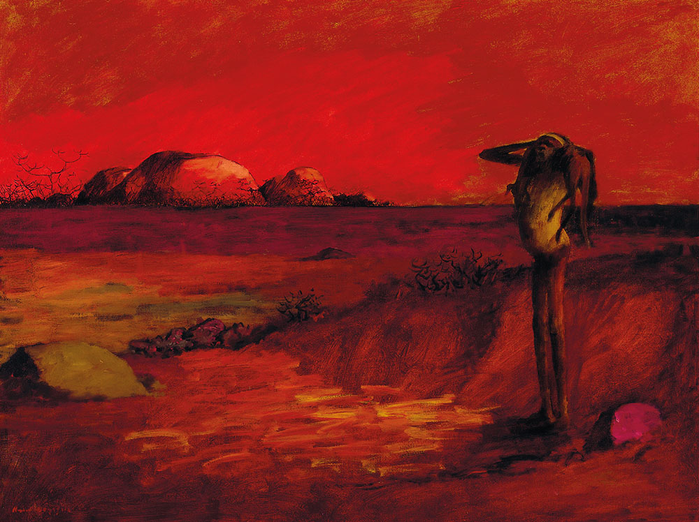 Red Painting Laandscape Person