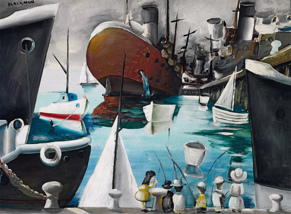 27. CHARLES BLACKMAN Boats at Williamstown 1956 image