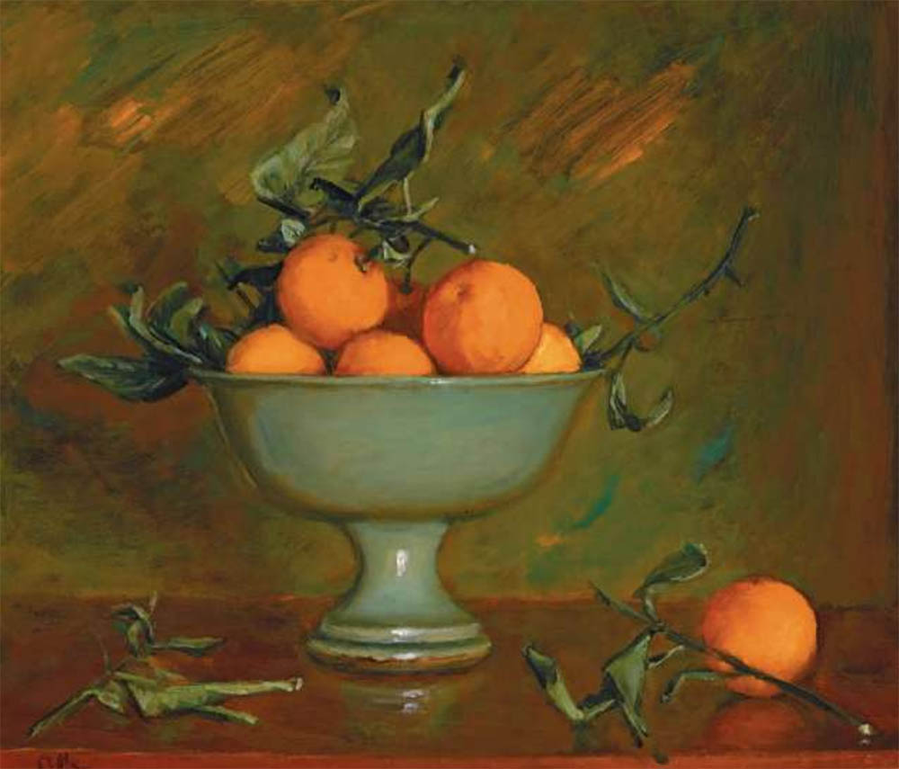 MARGARET OLLEY Mandarins in a Green Bowl image