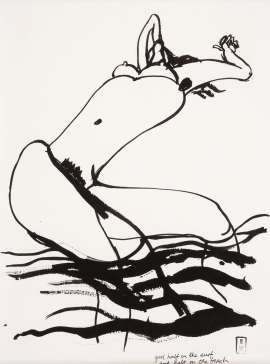 Girl Half in the Surf and Half on the Beach by BRETT WHITELEY