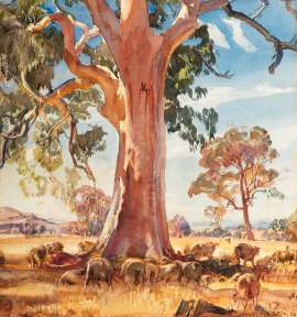 Rural Landscape with Gums and Grazing Sheep by HANS HEYSEN