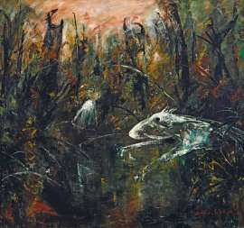 Child and White Dog by a Pond by ARTHUR BOYD