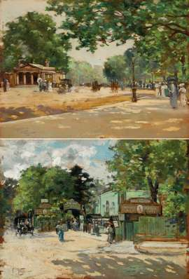 (i) Hyde Park Promenade (ii) The Bull and Bush, Hampstead by GIROLAMO NERLI