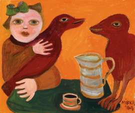 Two Red Birds at My Table by MIRKA MORA
