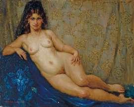 Mantilla and Pearls by NORMAN LINDSAY