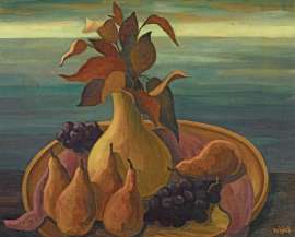 Still Life with Grapes and Pears by ALISON REHFISCH