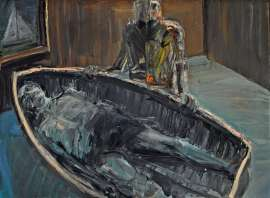 Watching over Figure in Boat in Room by EUAN MACLEOD