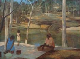 Family Resting by River by RAY CROOKE