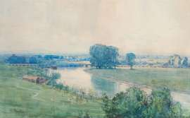 Landscape with Viaduct (possibly the River Ouse, Sussex) by ARTHUR STREETON