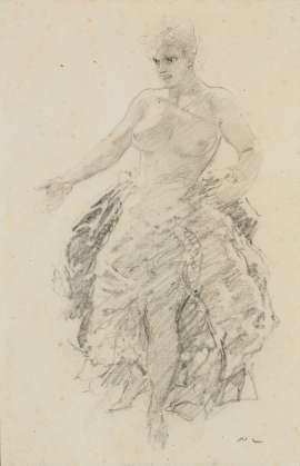 Model with Arranged Drapes by NORMAN LINDSAY