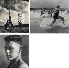 126. MAX DUPAIN (i)The Tug 'Hero' Towing 'Pamir' to Sydney Heads1947, (ii)Surf Race Start1940, (iii)Portrait of Boy in Sunlight1936 image