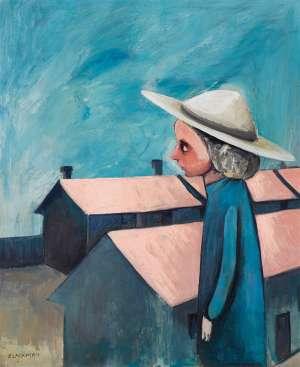 Schoolgirl and Buildings by CHARLES BLACKMAN