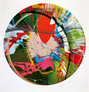Beautiful, Galactic, Exploding Screenprint (Spin) by DAMIEN HIRST