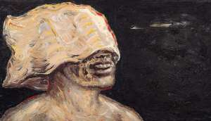 Laughing Man with Bag on Head by PETER BOOTH