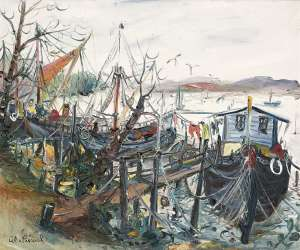 House Boats at Pin-Mill by CELIA PERCEVAL