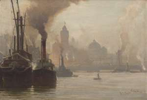 A Hazy Morning on the Lower Yarra by ROBERT EAGAR TAYLOR GHEE