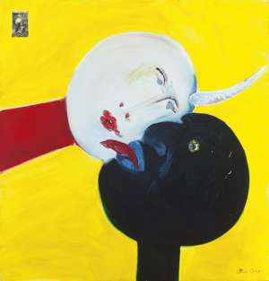 Picasso, with Door and Black Man on Yellow Background by ARTHUR BOYD