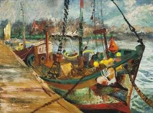 The Moored Shark Boat by JOHN PERCEVAL