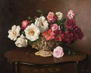 Still Life with Roses & Magnolia by ALBERT SHERMAN