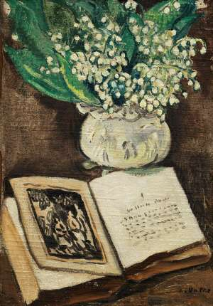 Flowers with Book by LOUIS VALTAT