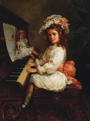 Portrait of Miss Winifred Hudson as a Young Girl, Seated at a Piano, her Doll Nearby by NICHOLAS CHEVALIER