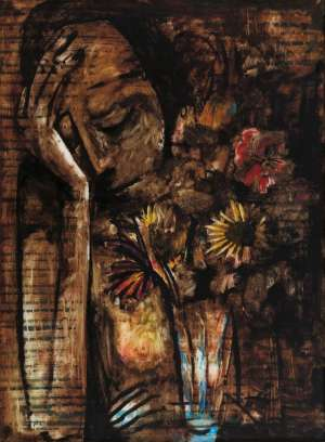 Untitled (Girl with Flowers) by CHARLES BLACKMAN
