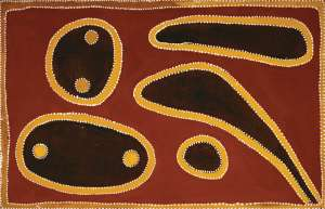 Dingo Holes at Bilaluna (also known as Nyaama Dingo Holes) by ROVER THOMAS (JULAMA)