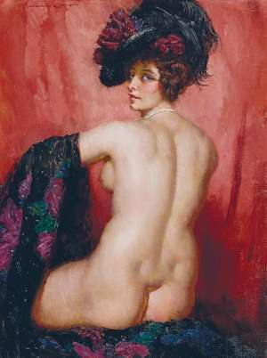 Back Nude Study by NORMAN LINDSAY