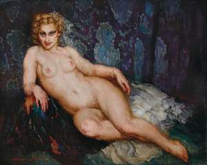 Reclining Nude (also known as The Chaise Longue) by NORMAN LINDSAY