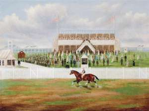 Before the Start, Flemington by FREDERICK WOODHOUSE SNR