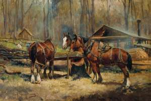 Draught Horses Resting by J.H. SCHELTEMA