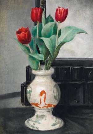 Three Amshurst Reds in a Vase by GERALD BROCKHURST