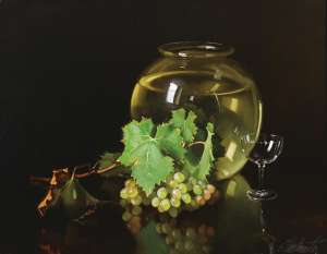 Still Life with Grapes and Glass by ERNEST BUCKMASTER