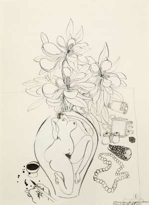 Preliminary Drawing for Magnolia with Money (Painting to have Real Roll of Money) by BRETT WHITELEY