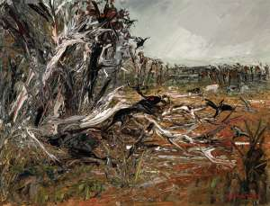 Untitled (Ram and Black Cockatoos in a Forest) by ARTHUR BOYD