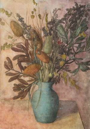 Native Flowers in a Blue Vase by JUSTIN O'BRIEN