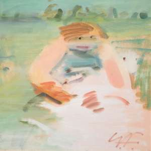 Young Shearer in a Landscape by SAM FULLBROOK