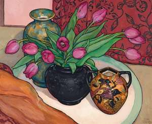 Bird of Paradise Vase with Tulips by CRISS CANNING