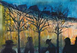 Sunset in the Park (also known as Figures in a Street) by CHARLES BLACKMAN