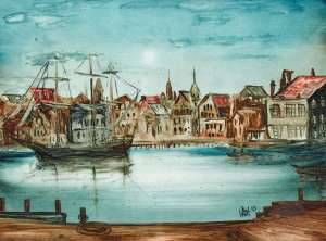 The Endeavour at Whitby by PRO HART