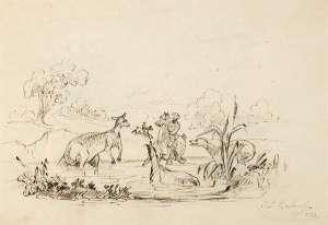 Sketch of a Man, Horse, Dog and Kangaroo in Water Bank by THOMAS BALCOMBE