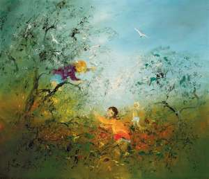 Untitled (Children and White Cockatoos) by DAVID BOYD