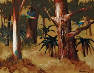 Parrots and Bush by ALBERT TUCKER