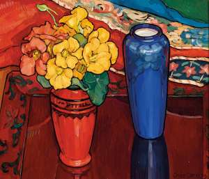 Nasturtiums, Iris and Blue Vase by CRISS CANNING