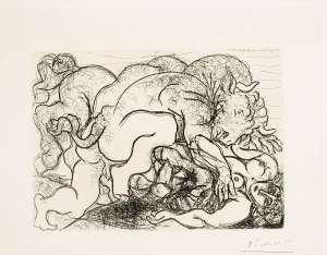 Minotaure Attaquant une Amazone (pl.87 from La Suite Vollard) by PABLO PICASSO