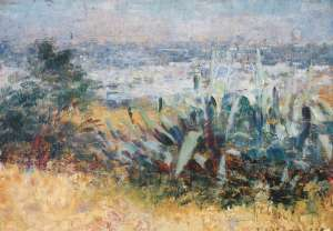 View towards the City from Kensington Road, South Yarra by FREDERICK McCUBBIN