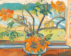 Flowers and Beach Landscape by IRMA STERN