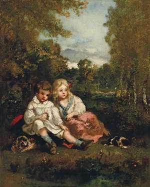 NARCISSE VIRGILE  DIAZ DE LA PEÑA Zwei Kinder In Landschaft image