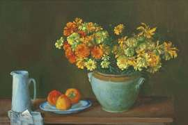 Still Life with Marigolds and Persimmons by MARGARET OLLEY